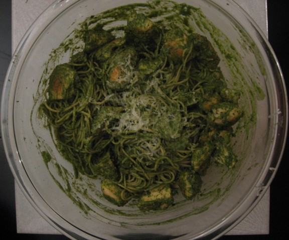 peper and spinach pasta