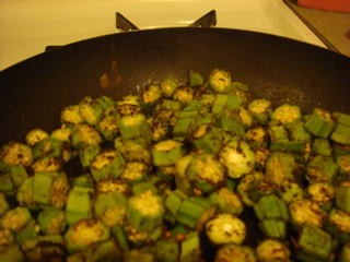 Okra rolled in toasted spice mixture