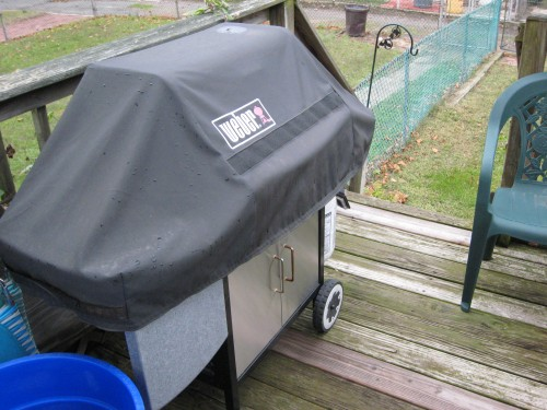 The grill, covered and neglected in this cold weather