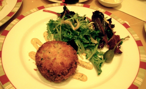 Crab cake and salad