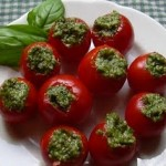 pesto stuffed cherry tomatoes