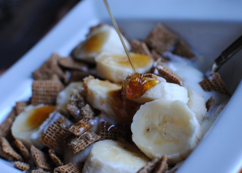 vanilla bean yogurt, bananas, chex, and honey