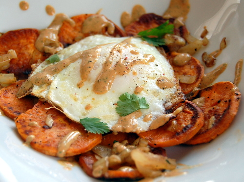 Eggs And Sweet Potatoes With Cottage Cheese Chipotle Sauce