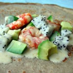 Crepes with Dragonfruit Avocado & Shrimp