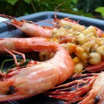 Tequila-Salt Flame-Baked Prawns with Lime over Hominy