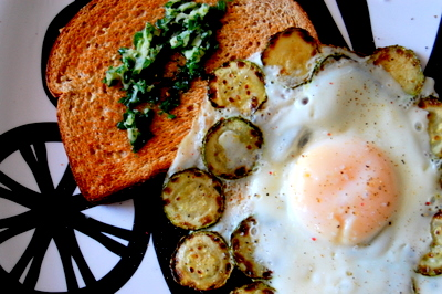 fried egg with zucchini