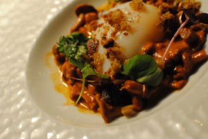 soft egg, chanterelle mushrooms