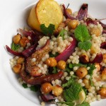 Israeli cous cous with hazelnuts, figs and feta