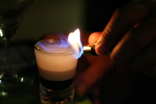how to drink flaming b 52 shots