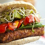 Strawberry BBQ Sauce Tempeh Sandwich