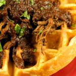 Pulled BBQ Brisket over Sweet Potato Waffles