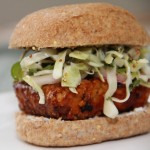 BBQ Tempeh Burger with Jalapeno Slaw