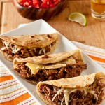 Brisket & Brie Quesadillas with Mango BBQ Sauce