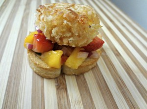 Coconut Shrimp Meatball on Crostini with Fruit Salsa