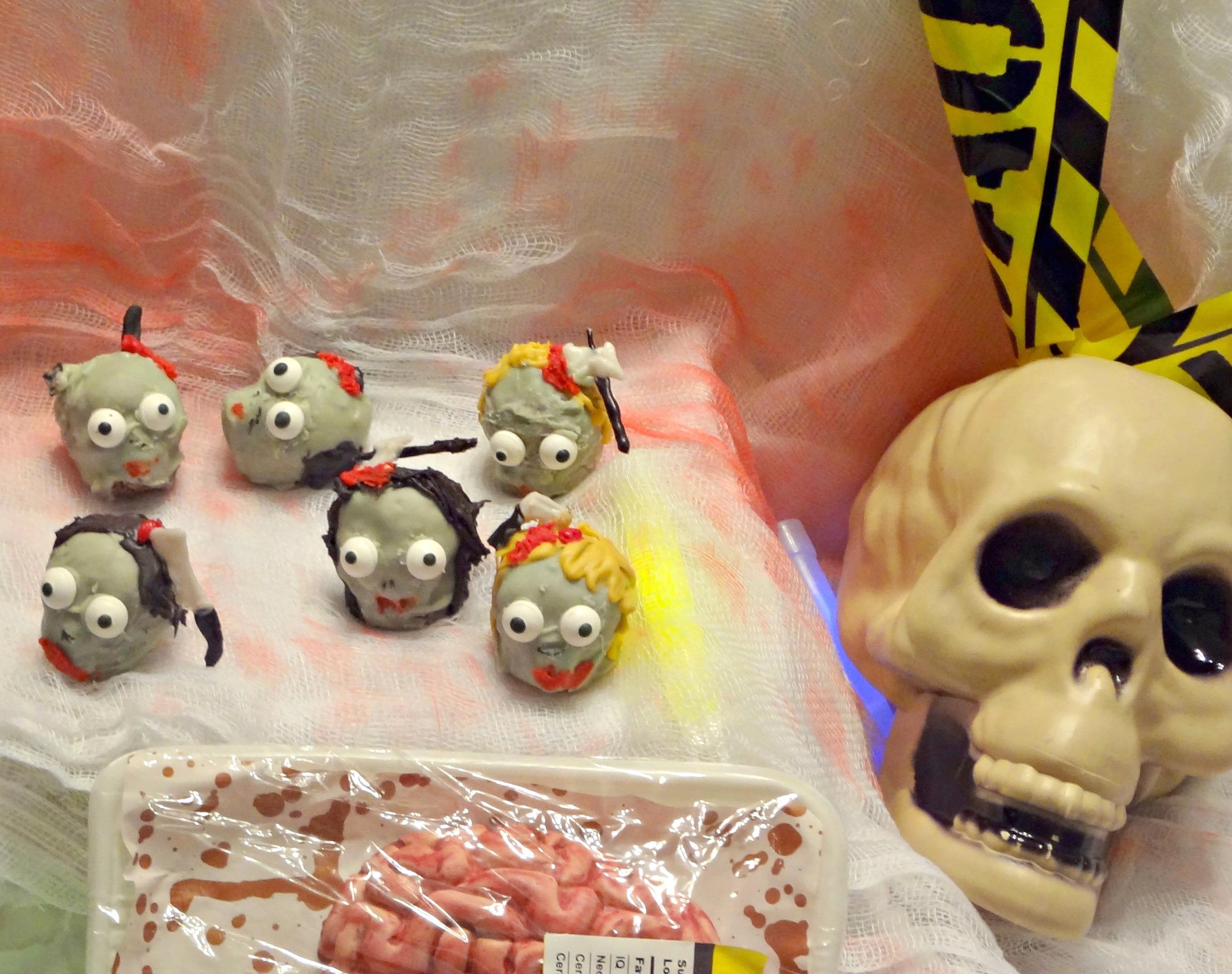 zombie head brownie bites