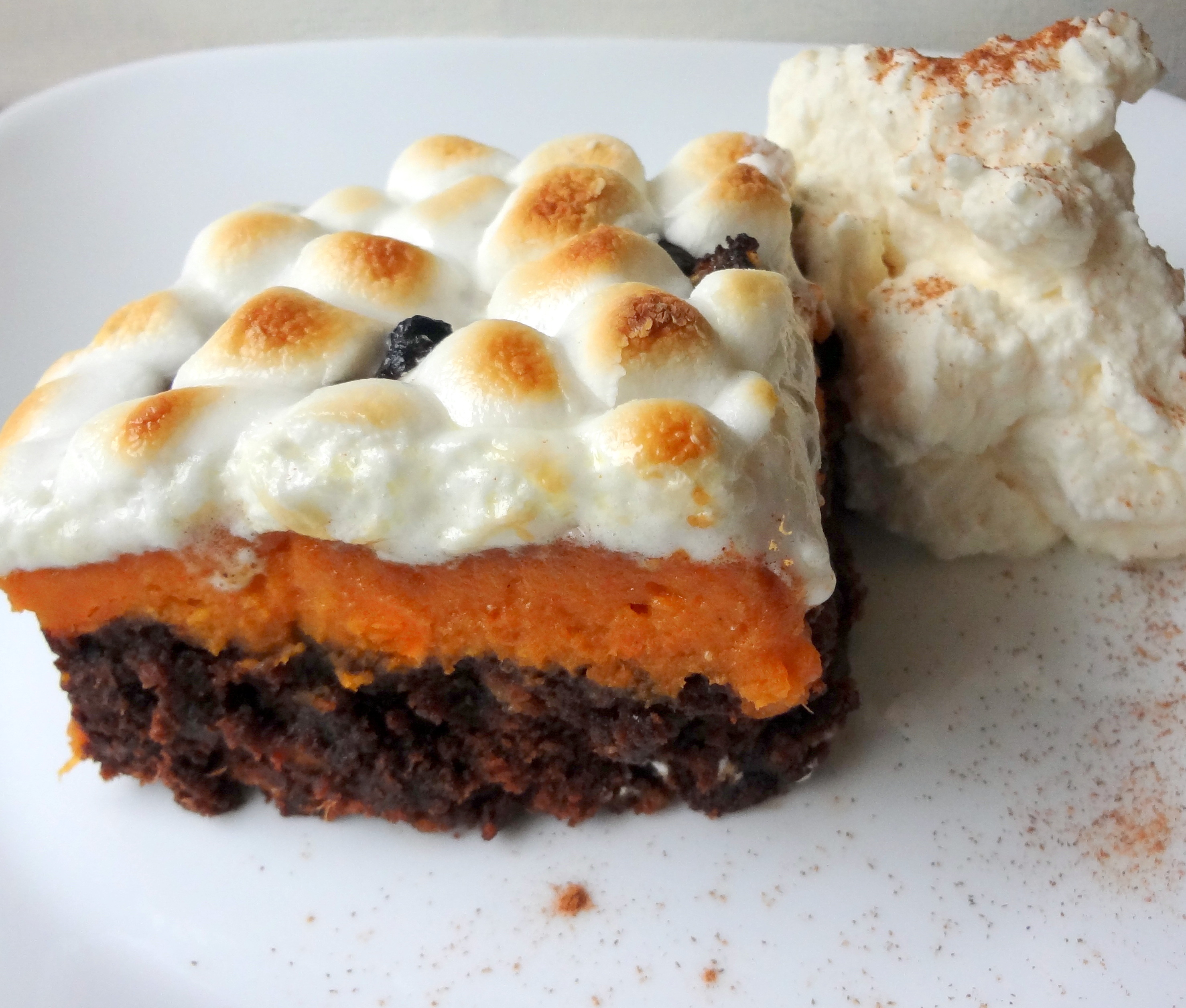 Pecan Pie Brownies with Sweet Potato Casserole Topping