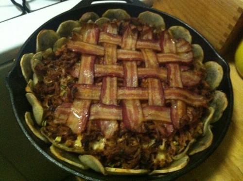 bacon lattice pie cooked