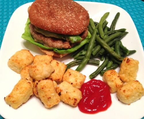Turkey Burger, Cauliflower Tots