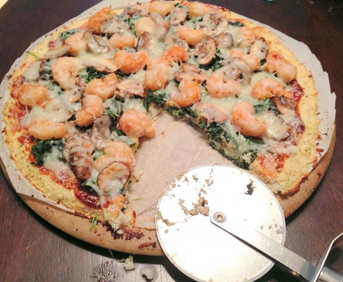 BBQ Shrimp Pizza with Cauliflower Crust