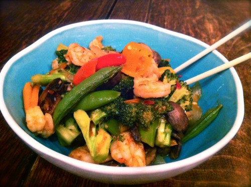 Multi Vegetable Stir Fry with Shrimp