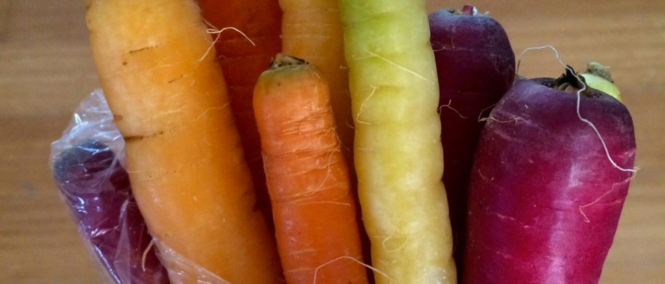 CSA box rainbow carrots