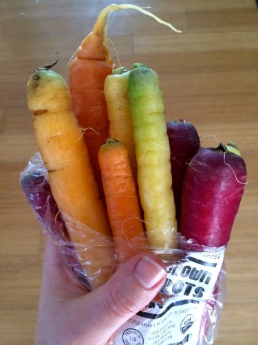 CSA box rainbow carrots