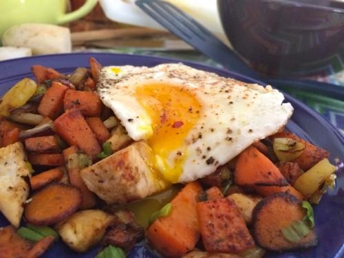 Rainbow Breakfast Hash Runny Yolk