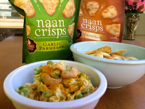 Curried Cashew Chicken Dip with Naan Crisps