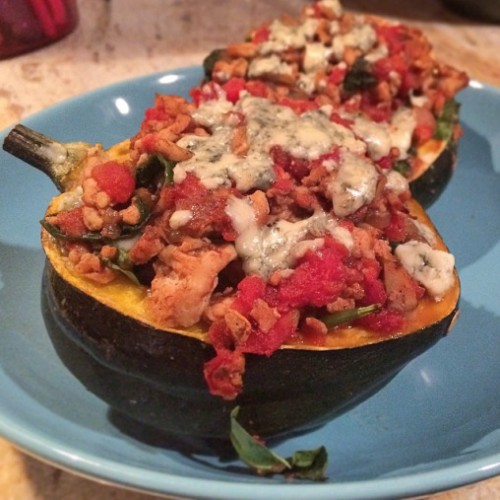 Stuffed Acorn Squash with Blue Cheese Caramelized Onion & Turkey