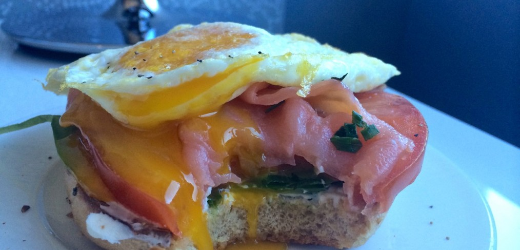 Runny Egg Bagel Sandwich