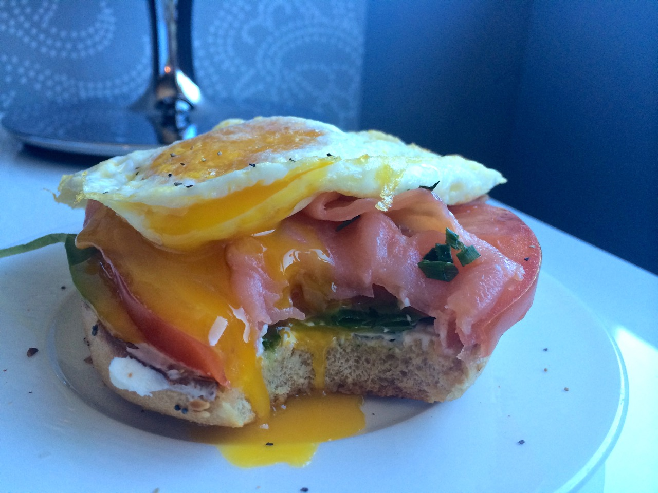 Runny Egg Bagel Sandwich