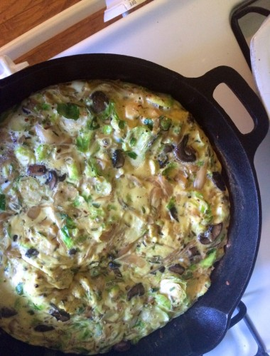 Caramelized Onion, Mushroom, Brussels Sprout Frittata vertical