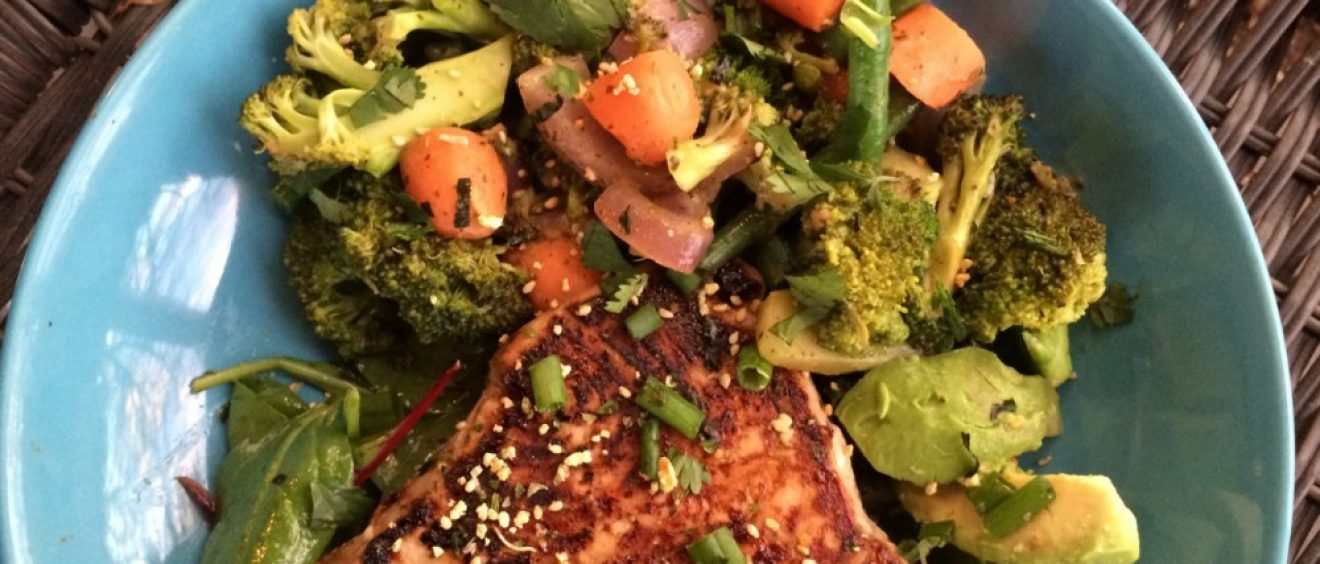 Seared Tuna with Ginger Wasabi Vegetables