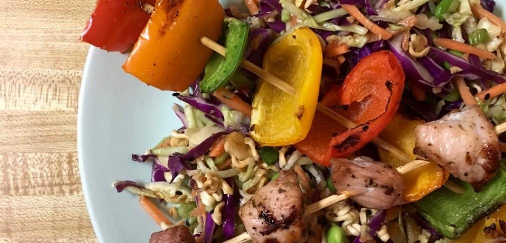 Smithfield Marinated Fresh Pork - Skewers over Ramen Salad